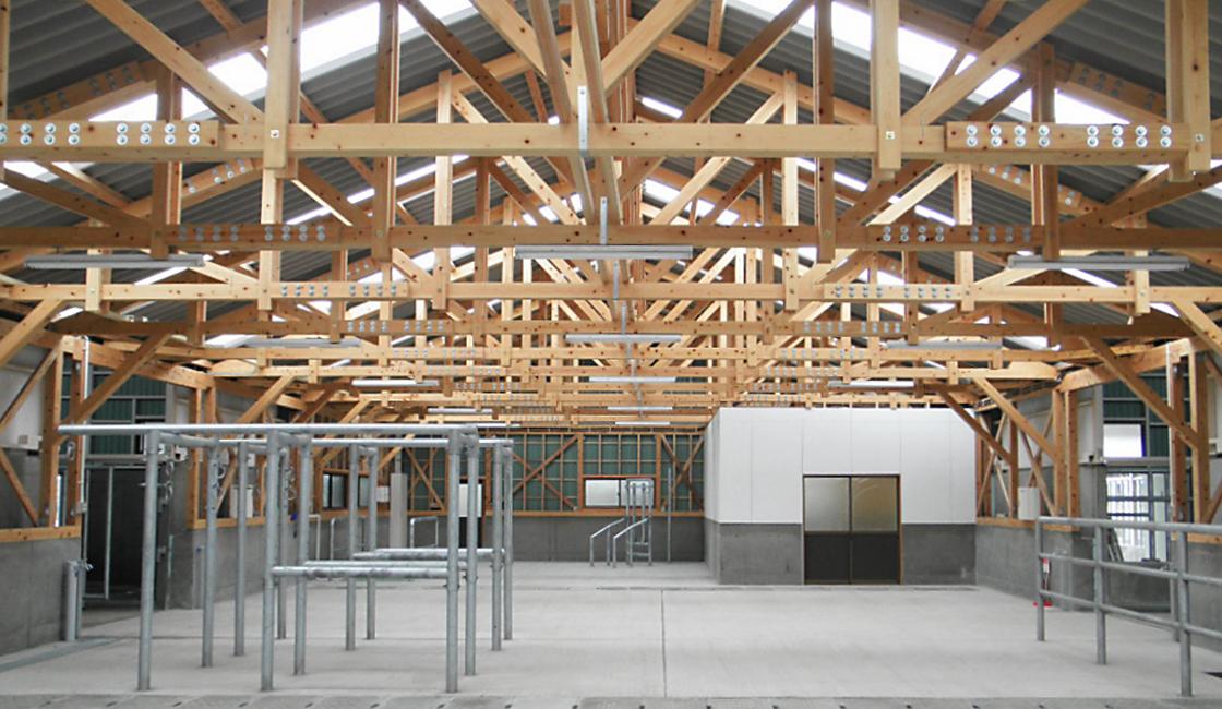 公共工事 大分県畜産研究部 牛舎の採取場など 新築工事 内部