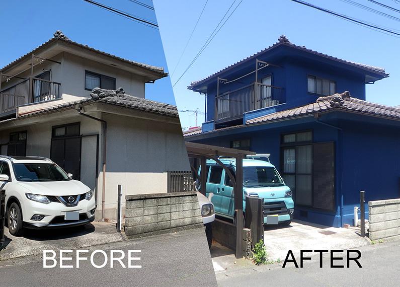外壁塗装工事、改修工事 施工前、施工後