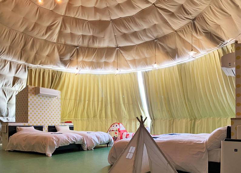 別府グランピングリゾート施設さま 新築工事ドーム型テント客室内部